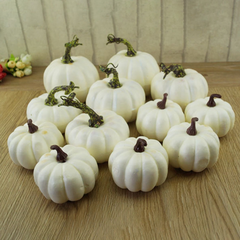 New-6 PCS Fake White Pumpkin Autumn Fall Halloween Christmas Decoration Autumn Thanksgiving Decoration Harvest Decoration and Di