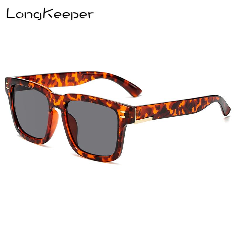 LongKeeper New Square Sun Glasses Oversized Goggles Mens Square Sunglasses Women Fashion Famous Brand Rivet Eyewear