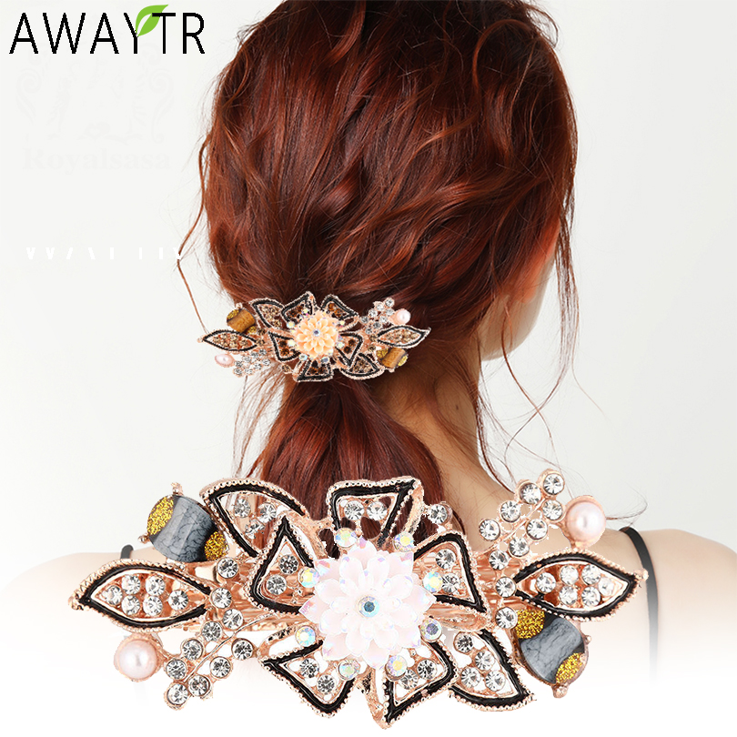 AWAYTR Fashion Flower Barrettes Resin Foral Crystal Hair Clip Women Hairpin  Hair Accessories For Woman Girls Hairgrips Headband