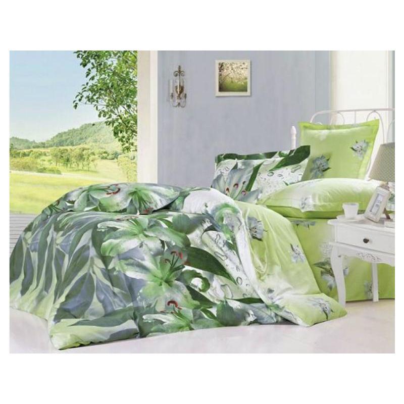 цена на Bedding Set полутораспальный СайлиД, B, green, with flowers
