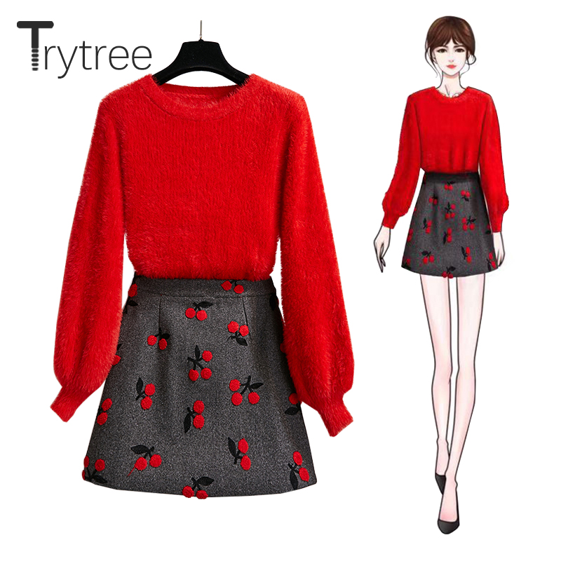 Trytree 2019 Autumn Winter Two Piece Set Casual O-neck Solid Sweater Top + Skirt Zipper Fashion Office Lady Set 2 Piece Set