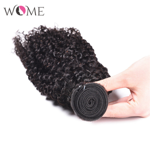 Image 5 - WOME Brazilian Kinky Curly Human Hair Bundles Jerry Curls 1/3/4 Bundles 10 26 Inches Natural Color Non remy Hair Extensions