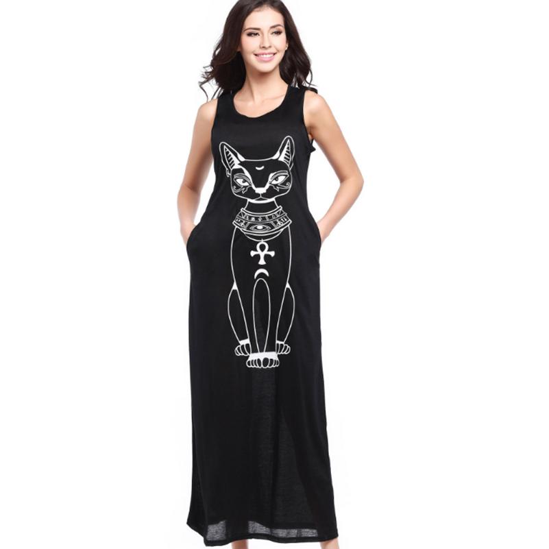Dress Style Size Summer O Casual female Sleeveless 2020 Long Cartoon Maxi Women Plus Loose Size Neck Fashion Tank dresses