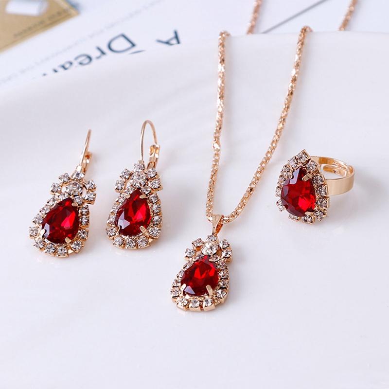 3Colors Jewelry Sets Hoop Earrings Water Drop Earrings Red Jewelry Set Rhinestones For Women Pendant Necklace/Earrings/Rings