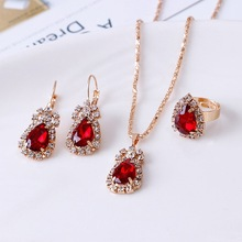 Earrings Jewelry-Sets Pendant Rhinestones Women Red for Hoop 3colors