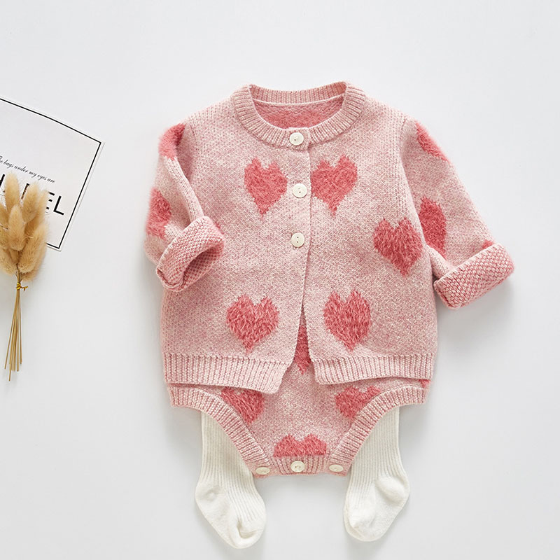 2019 New Pattern Baby Jumpsuit Girl Spring And Autumn Sweater love Print  Jacket + love Print Jumpsuit Two Piece Suit