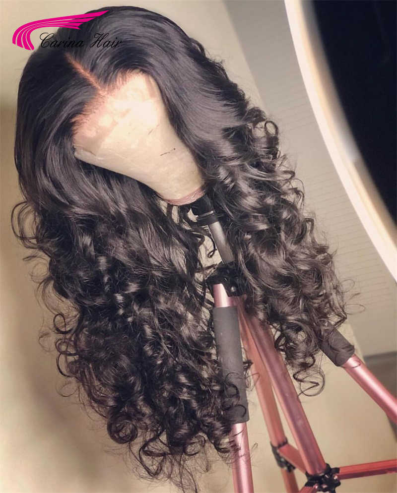Карина бразильские волнистые волосы Синтетические волосы на кружеве парики с детскими волосами 13*3 Remy человеческие волосы предварительно выщипанные волосы бесклеевой парик