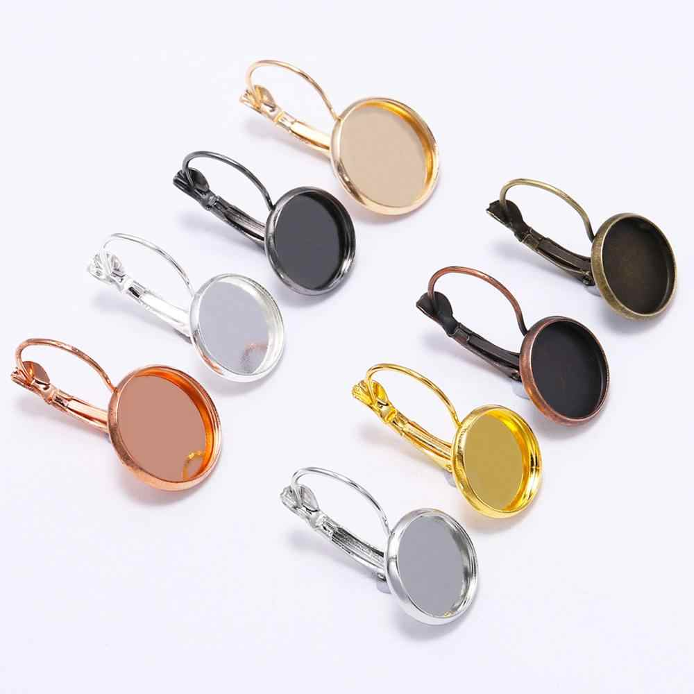 10pcs/lot 8-20 mm French Lever Earring Setting Blank Earring Base Back Earrings Cameo Bezels Tray For Jewelry Making Supplies