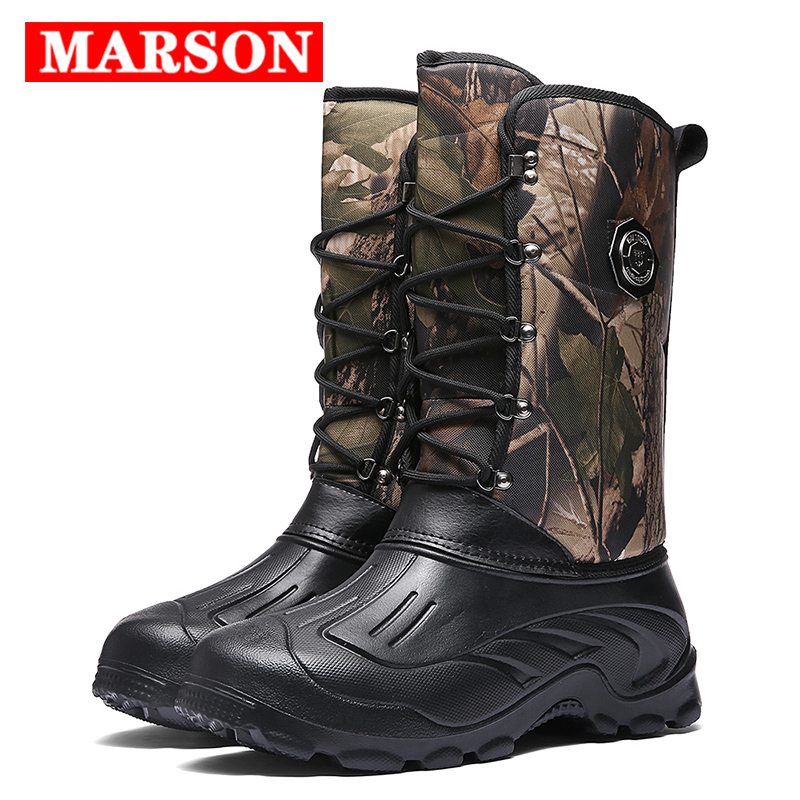 MARSON Men Snow Boots Winter Plus Velvet Thickening Thermal Shoes Cotton Plush Keep Warm Outdoor Boots Big Size 40-46 Men Shoes