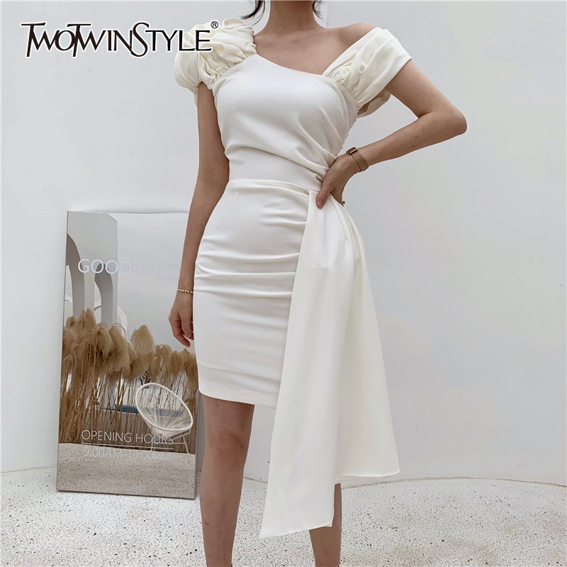 TWOTWINSTYLE Sexy Party Women Dress Asymmetrical Collar Spaghetti Strap High Waist Mini Irregular Dresses Female Clothing Tide