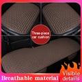 Всесезонные чехлы для автомобильных сидений из льняной ткани  дышащие защитные коврики для передних и задних сидений  2020