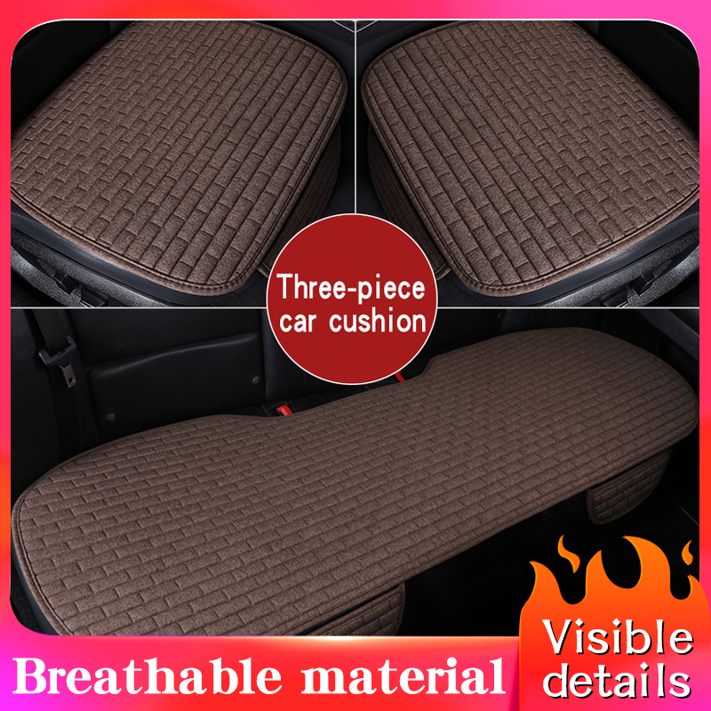 2020 Hot Linen Fabric Car Seat Cover Four Seasons Front Rear Flax Cushion Breathable Protector Mat Pad