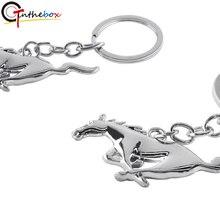 GTinthebox 1X металлический материал Хромовая Серебряная Автомобильная брелок с кольцом для Мустанг брелок для ключей с пони