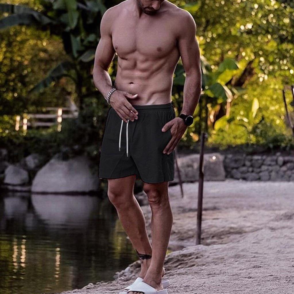 Men's New Beach Shorts 2019  Shorts For Men Summer Solid Breathable Elastic Waist Casual Man Shorts Male   Mar25