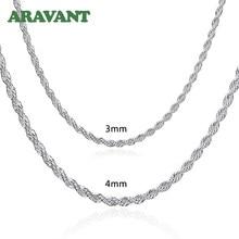 Catena in argento 925 3MM/4MM Twist collana per uomo donna gioielli di moda