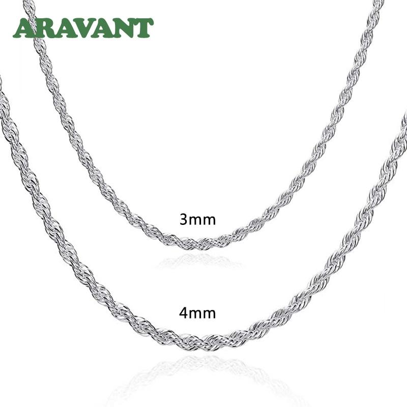 925 silber 3MM/4MM Twist Halskette Kette Für Männer Frauen Mode Schmuck