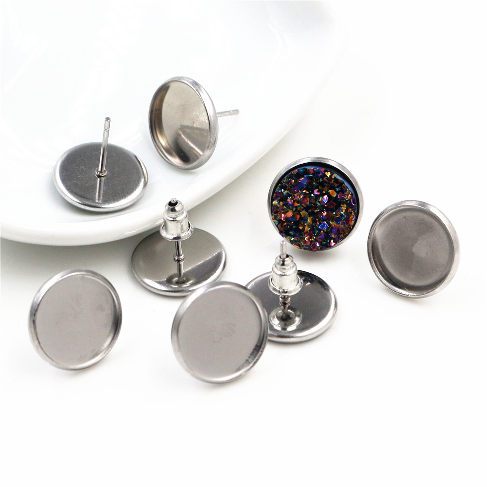 12mm 20pcs Stainless Steel Earring Studs,Earrings Blank/Base,Fit 12mm Glass Cabochons,Buttons;Earring Bezels (L4-08)