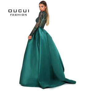 Image 2 - Green 2019 Muslim Long Sleeves Mermaid Evening Dress Appliques Sequined Train Arabic Kaftan Prom Dresses Party Gowns OL103347