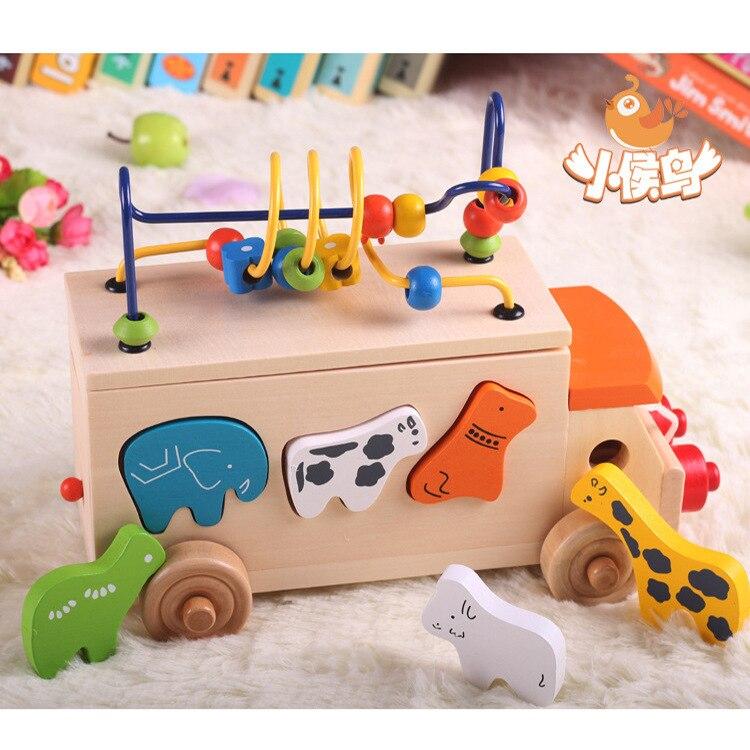 Jouet éducatif pour enfants correspondant bois maison de jeu Animal jouet cognitif 3 ans 1 multi-fonctionnel perle-cordage jouet Animal