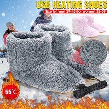 Aquecimento elétrico sapatos confortáveis sapatos de pelúcia pé mais quente lavável carregamento usb sapatos de aquecimento elétrico inverno térmica boot presente