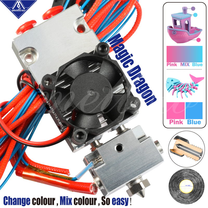 Mellow Nf- Magic Dragon Defeats E3d Chimera And Cyclops Multicolor Hotend 2 In 1 Out Or 2 Out Dual Extruder For 3D Printer Parts