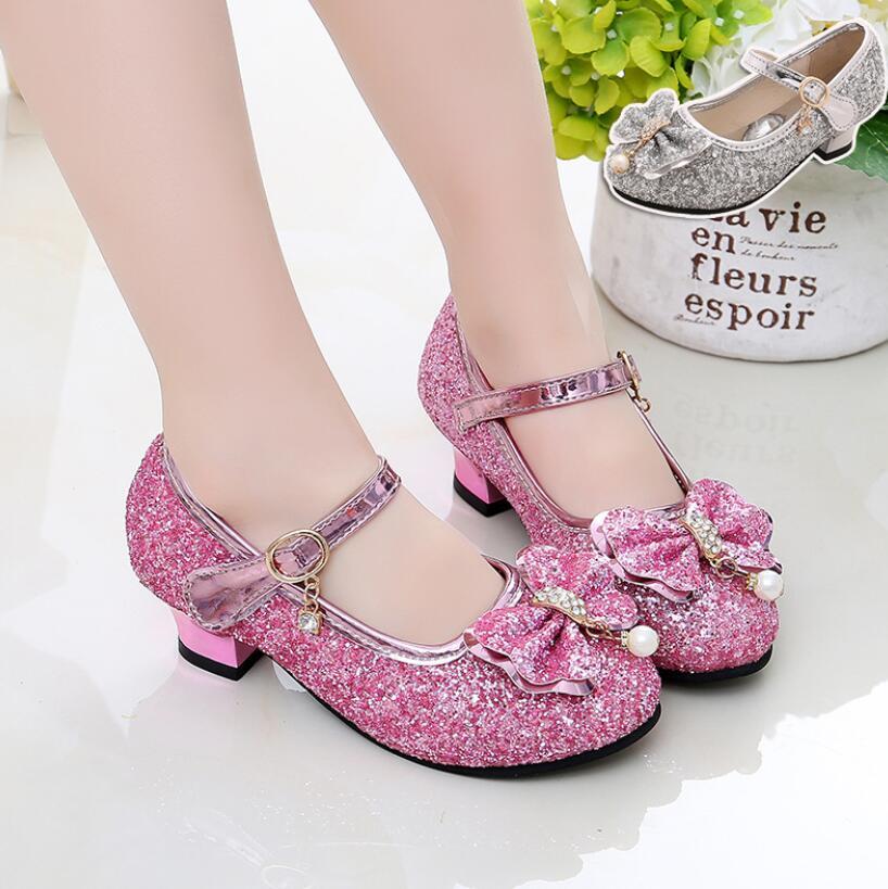 Kids Leather Shoes Girls Wedding Dress Shoes Children Elsa Princess Bowtie Dance Shoes For Girls Casual Shoes Flat Sandals