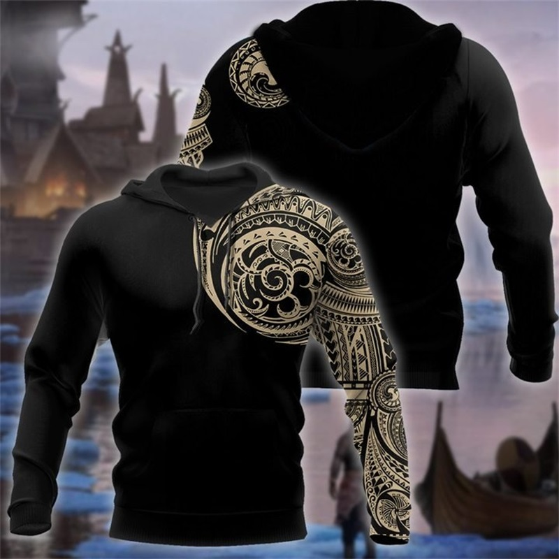 Viking Tattoo Polynesian Style 3D Printed Men Hoodies Harajuku Fashion Hooded Sweatshirt Autumn Unisex Hoodie Sudadera Hombre