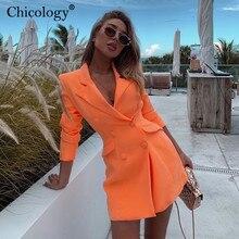 Chicology neon pocket double breasted blazer long sleeve slim elegant coat jacke