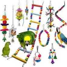 10 Parrot Toys chew Budgie Perch And Bird Toys Swing Pet Accessories Cockatiel ladder Stand parkiet speelgoed jouet perroquet