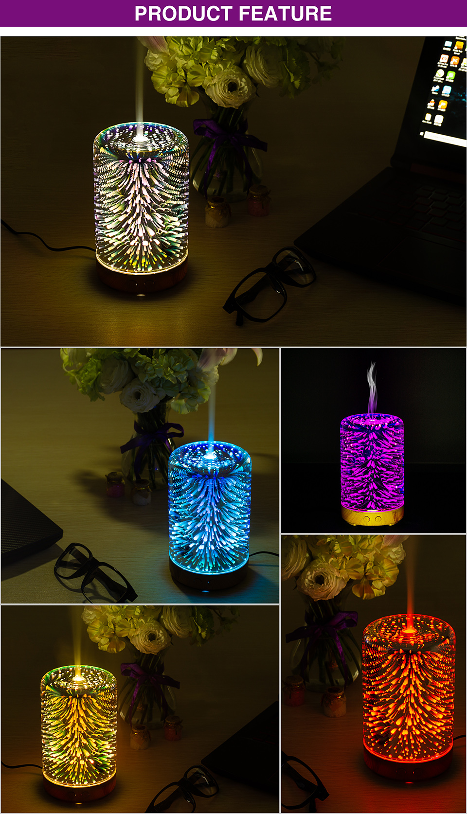 Luz da noite led 3d lâmpada de