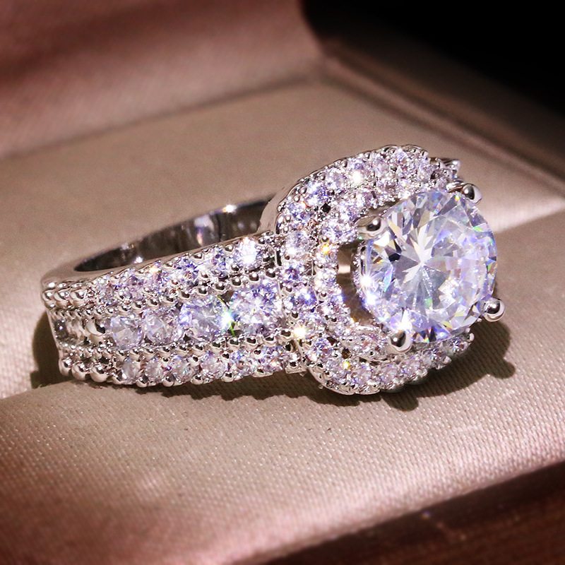 Big Bling Zircon Stone Silver Color Wedding Engagement Rings for Women Fashion Jewelry 2020 New SS925 2