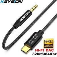 KEYSION HIFI DAC Kopfhörer Verstärker USB Typ C zu AUX Männlichen lautsprecher audio adapter 32bit 384kHz Digital-Decoder Auto AUX Konverter