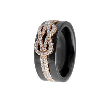 Кольцо из серебра с керамикой и фианитами R00625