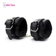 PU Leather Plush Sex Slave Handcuff Ankle Cuff BDSM Bondage Restraints Sex Toy for Couples Sex Games Fetish Exotic Accessories chastity lock 1 pair metal plush bdsm sexy bondage set restraints sex for couples woman slave sm sexy erotic toy handcuff lock