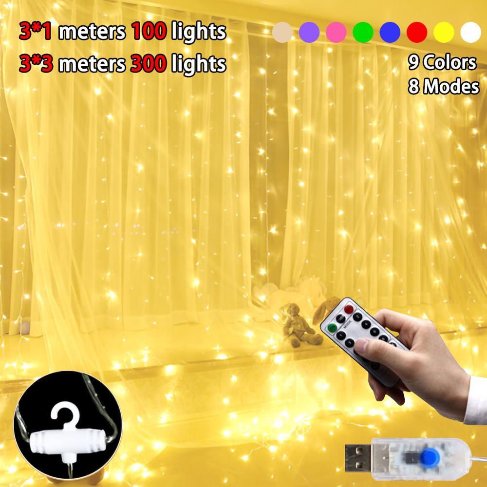 3M 300LED Festa Casamento Cortina Luzes De Fadas Usb Luz String Em Casa Com Controle Remoto E Gancho