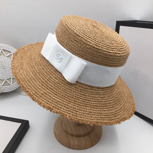 Image 3 - Fashion bonnet temperament Raffia visor beach vacation straw hat M standard ladies elegant bow flat cap sun hat