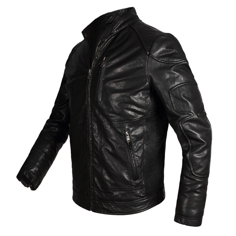 De Jaqueta Couro Motoqueiro Men Genuine Leather Jackets Slim Sheepskin Coat Black Leather Jacket Men Plus Size 5XL WXF49