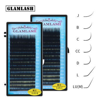 GLAMLASH Mix 7~15/15-20/20-25mm Handmade Korean Pbt J/B/C/D/L/LU(M)  CURL Eyelash Extension Natural Soft Faux Mink Lash 1