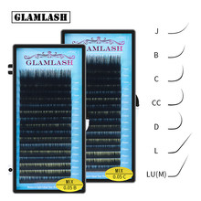 GLAMLASH Mix 7 ~ 15/15-20/20-25mm Handgemachte Koreanische Pbt J/B/C/D/L/LU(M) CURL Wimpern Verlängerung Natürliche Weiche Faux Nerz Lash