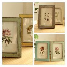 Vintage 5 pulgadas Desktop decoración marco de fotos estilo clásico chino madera soporte de cuadro hogar dormitorio Mesa Decoración
