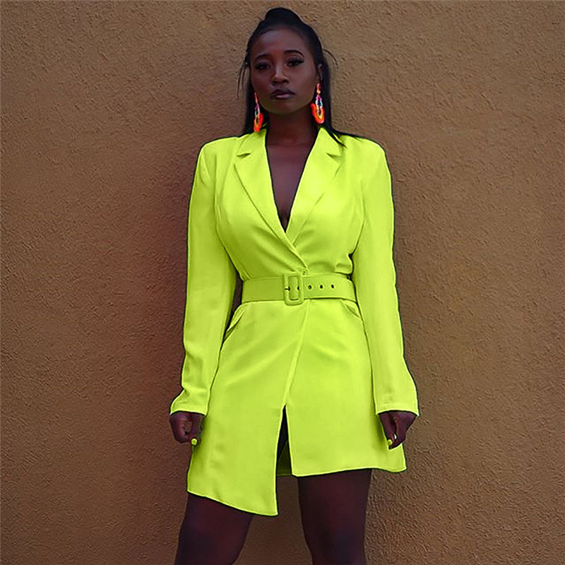 2019 New Women Pre-fall OL Long Sleeve Slim Blazer Coat With Belt Jacket Formal Suit Open Stitch Blazers Asymmetrical Hem Dress