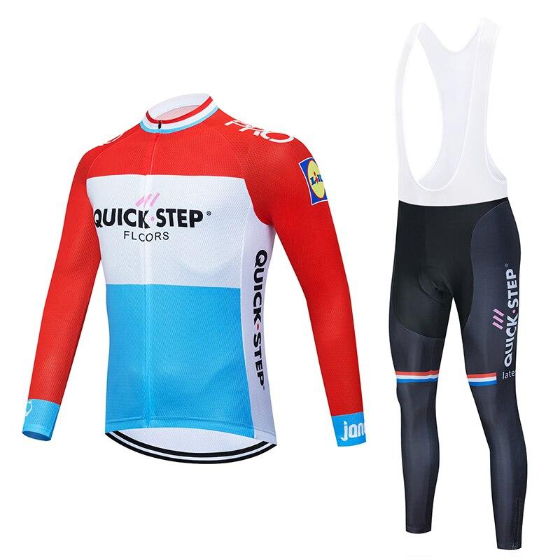 Spor ve Eğlence'ten Bisiklet Takımları'de 2019 hızlı adım yeni erkek uzun kollu forması takım elbise üniforma giyim Jersey sürme MTB Pro takım bisiklet takım elbise 16D bib. title=