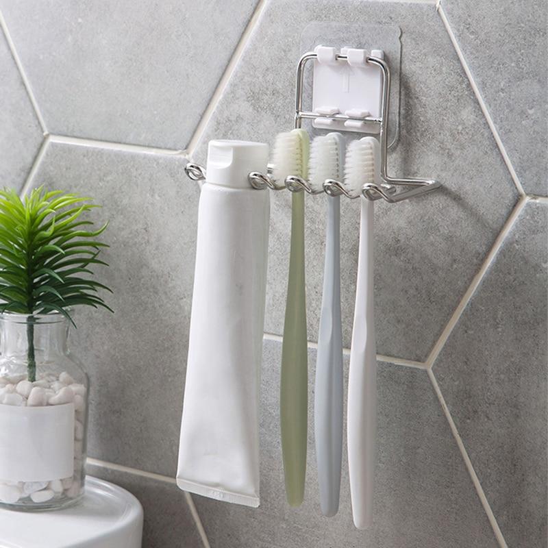 Stainless Steel Toothbrush Holder Wall-Mounted Shaver Storage Rack Shelf Toothpaste Holder Brush Dispenser Bathroom Accessories