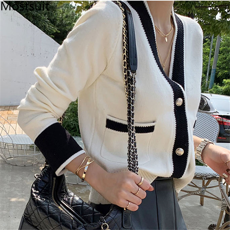 Vintage Ladies Knitted Cardigans Sweaters Women Long Sleeve V neck Korean Office Fashion Slim Tops Cardigans 2019 Autumn Winter