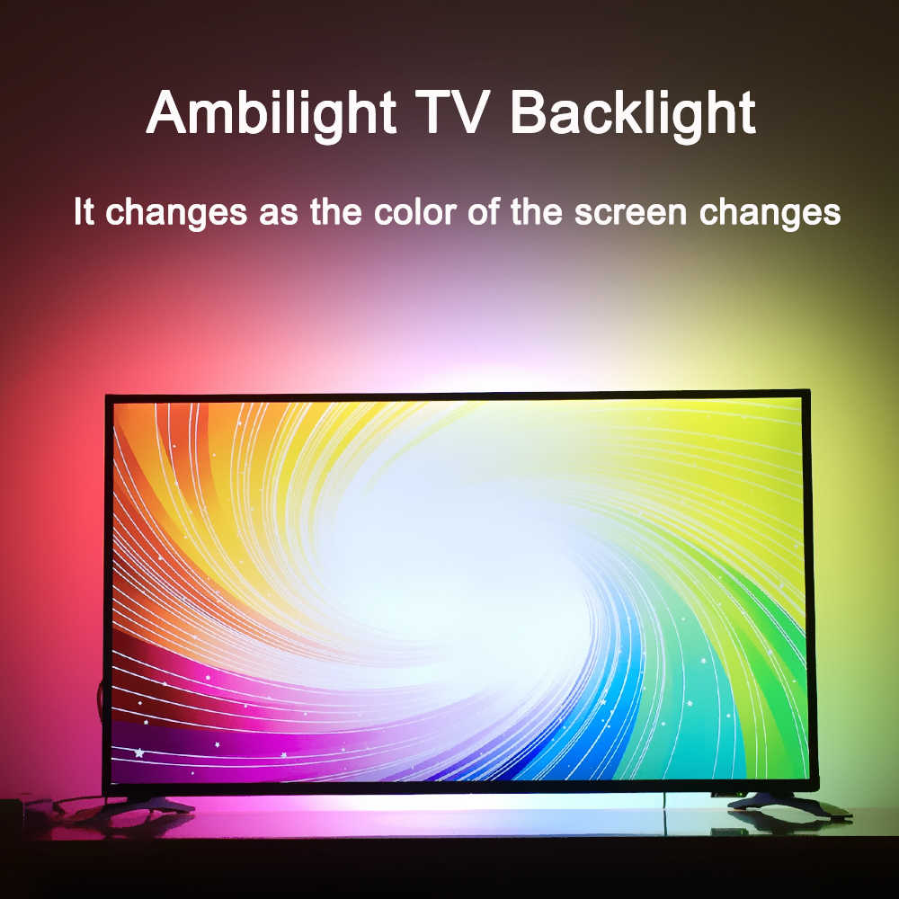 Ambilight dinámica TV retroiluminación para 4K HDTV HDMI Dispositivo Flexible inteligente píxeles RGB tira de LED de DC5V Raspberry Pi 40-80 pulgadas Kit completo