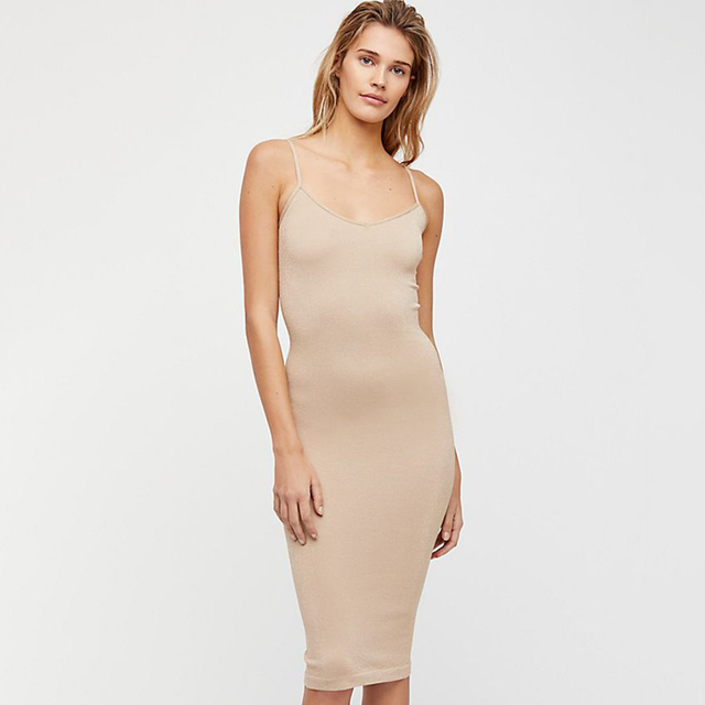 Seamless Nude Slip 2020 Summer Autumn Women Adjustable Strap Sexy Vestidos Short Dress Stretchy Casual Bodycon Slim Mini Dress 5