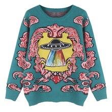 Suéter con bordado de platillo volador Harajuku para mujer, jersey de manga larga Vintage, Jersey de punto de dibujos animados Chic