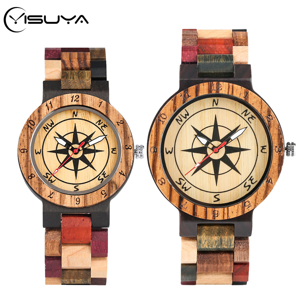 YISUYA Compass Patchwork Wood Watch Creative Mixed Color Design Clock Male Full Wooden Bangle Man Quartz Wristwatch Couple Gifts