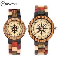 Yisuya Kompas Patchwork Hout Horloge Creatieve Gemengde Kleur Ontwerp Klok Mannelijke Volledige Houten Bangle Man Quartz Horloge Paar Geschenken-in Geliefdes Horloges van Horloges op