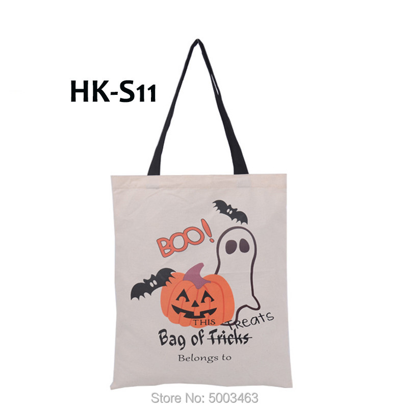 1pcs Halloween HandBag 14 Styles Santa Sacks Trick Or Treat Candy Tote Bag Santa Decoration Kids Halloween Gift Canvas Bag